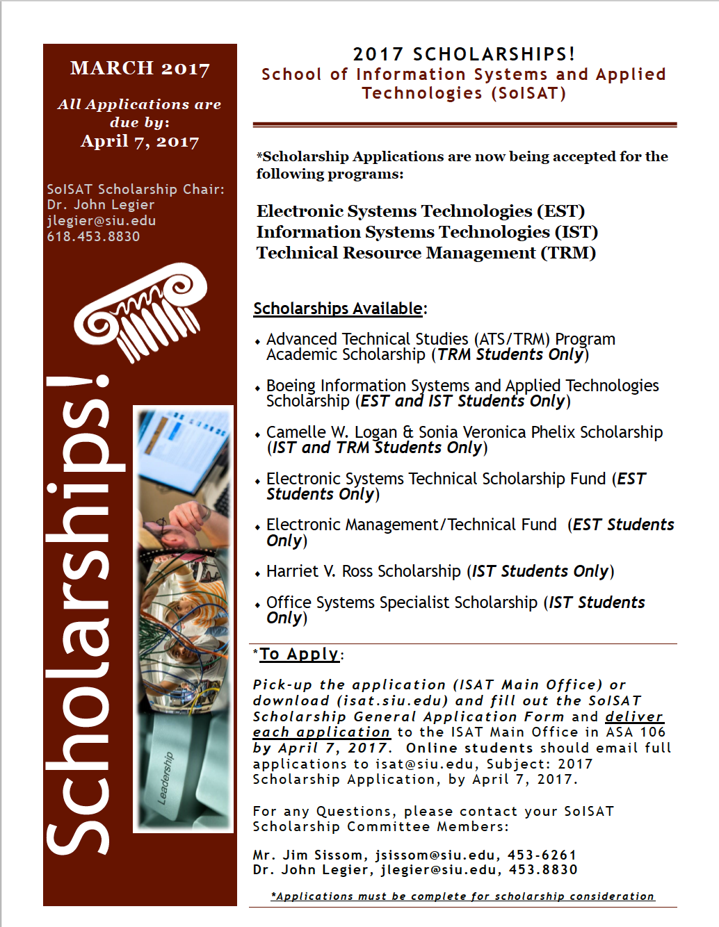 ISAT 2017 Scholarship Flyer